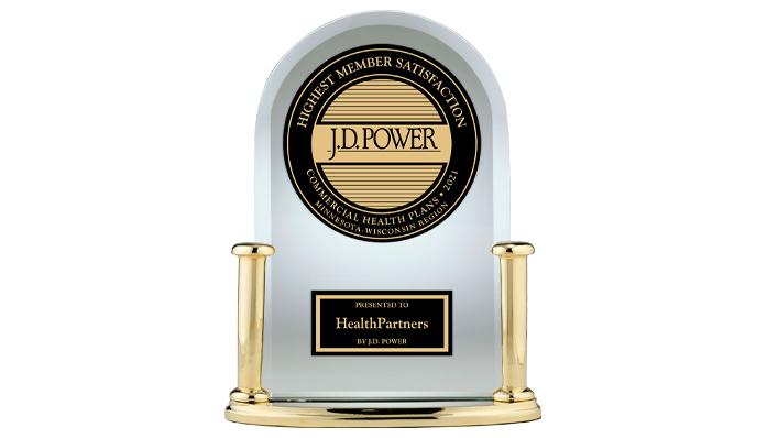 A J.D. Power award trophy awarded to HealthPartners