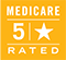 5 star medicare logo - a white star with the number 5 resting on a yellow triangle