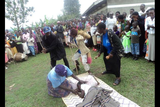 Drama troupe performing malaria story