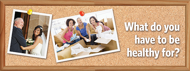 What do you have to be healthy for? Cork board with family photos.