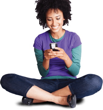 banner photograph of smiling woman with mobile phone