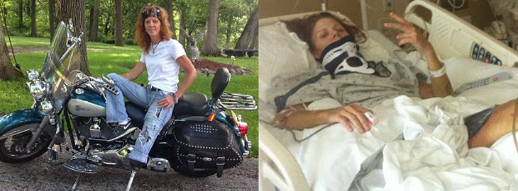 Banner: Regions Hospital helps motorcycle accident survivor get back on her bike