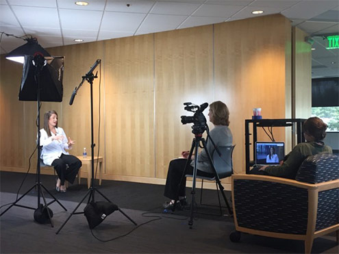 Image: Science Museum, Dr. Aimee being filmed (MGH blog)