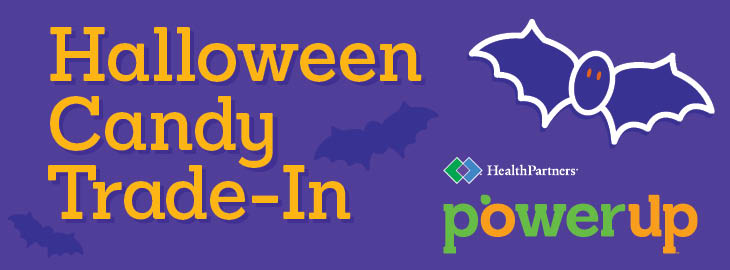 Image: Halloween candy exchange with bat graphic MGH Blog article