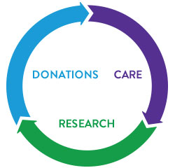 Donations, care, and research graph