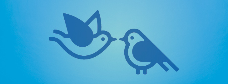 Image: Two birds with blue outlines and blue gradient background - Healthy living blog November Senior care services
