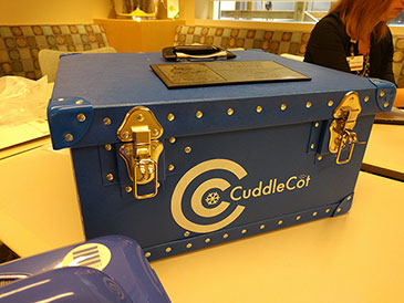 Image: Cuddle Cot donation storage chest that was donated to Methodist Hospital's Family Birth Center