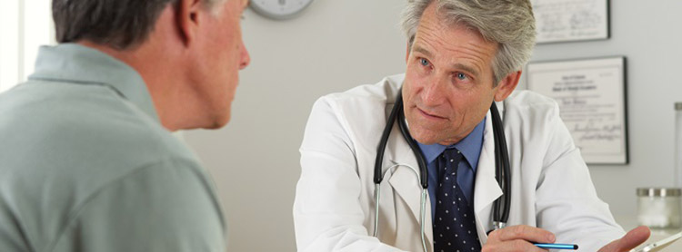 Image: male doctor with male patient Health blog - What is testicular cancer?