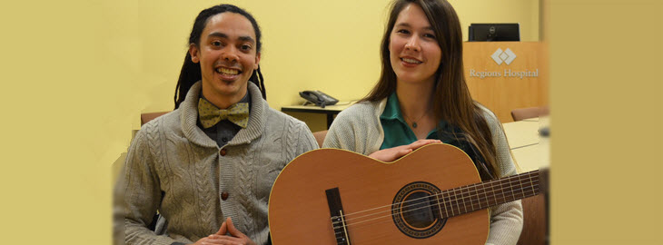 Banner: MGH - Regions Hospital music therapist and patient team up to write song on healing