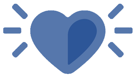 Image: Blue banner with large heart icon